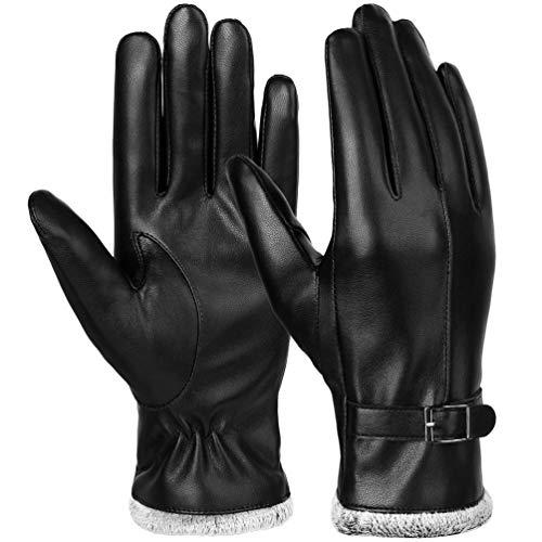 Vbiger Damen Lederhandschuhe Winter Handschuhe Touchscreen Handschuhe Echt Leder Touch Screen Gefüttert aus Kaschmir Wolle Casual Outdoor Sports Handschuhe, Schwarz-1, L