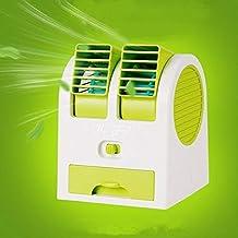 Atman Mini Fan USB and Battery Powered Mini Portable Dual Blower Desk Table Air Cooler Fan Portable Dual Bladeless