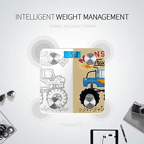 Cute Cartoon Monster Truck Most Accurate Bathroom Scales Weighing Machine Best Rated Bathroom Scales Tracks 8 Key Compositions Analyzer Sync with Fitness Apps 400 Lbs