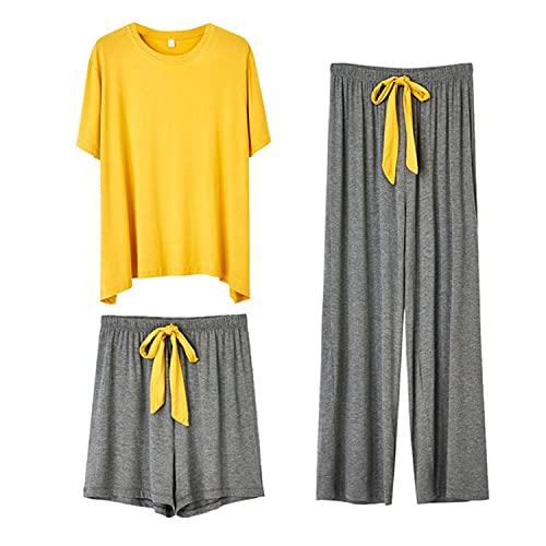 3 piezas de pijama de las mujeres conjunto femenino sólido casual pijama suelto viscosa sólido ropa de dormir ropa de dormir primavera verano otoño homewear pijama