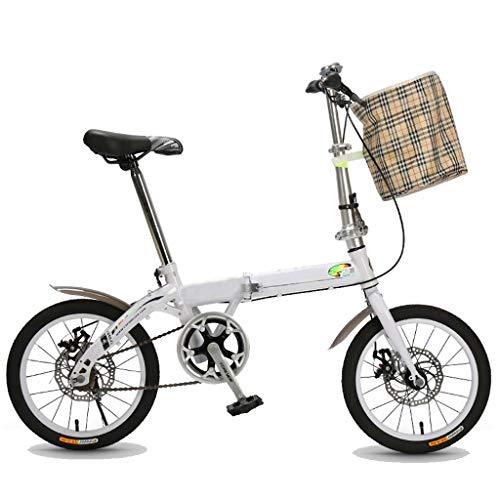 Bicicleta Plegable, Bicicleta De 16 Pulgadas, Adultos, Señoras, Hombres, Mini Bici Plegable...