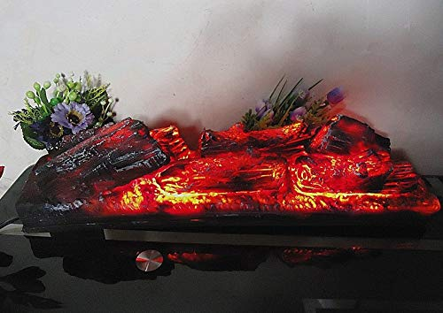 Falso de carbón de leña eléctrica para chimenea, simulación de carbón de leña para hogueras, decoración para colgar o sentarse, para uso interior y exterior