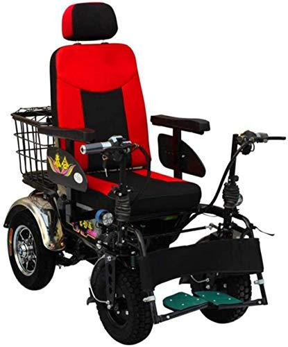 GQQ Rollstühle, Erwachsener Offroad-Rollstuhl Tragbarer Elektrorollstuhl Frei Laufend Allrad/Behinderte/Roller, 24V / 20A Lithiumbatterie, Batterielebensdauer 150 Km Komfortables Und Sicheres Rei