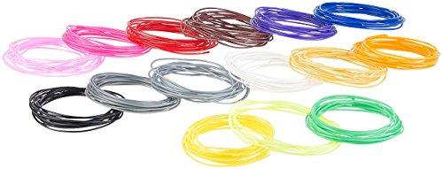 FreeSculpt Cinghie in plastica ABS: Set di filamenti in ABS a 15 colori per penne per stampanti 3D, 3 m ciascuno, Ø 1,75 mm (Filamento sulla bobina, Tamburo, nastro)