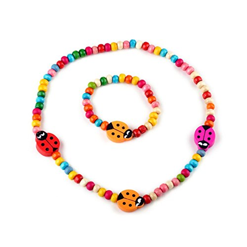 Shuning Kids Girls Wooden Ladybug Stretch Colorful Bead Necklace Bracelet Set Accesorries Costume Play Toddlers Children