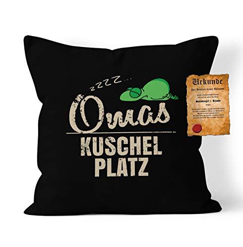 Oma Kuschel Kissen Geschenk - Großvater Geschenk : zzz… Oma Kuschel Platz - Kissen ohne Füllung + Urkunde - Farbe: Schwarz