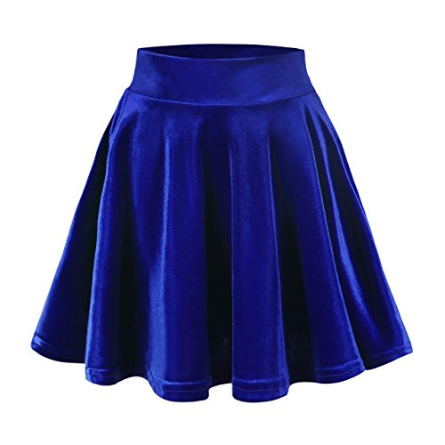 Urban CoCo Women's Vintage Velvet Stretchy Mini Flared Skater Skirt (XL, Royal Blue)