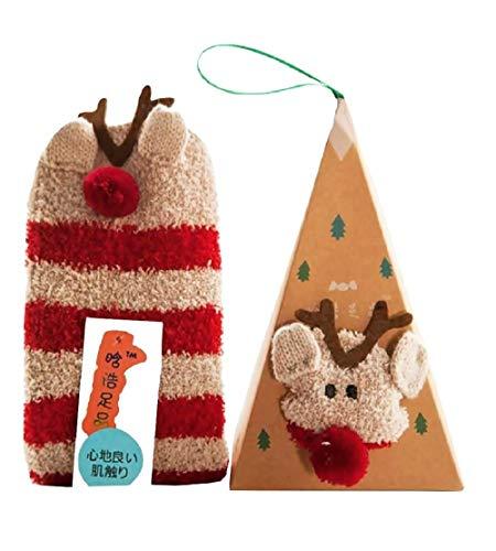 Kerstsokken - santa's rendier - met kerstdoos - beige - one size - voor kinderen - jongen - meisje - unisex - cadeau-idee