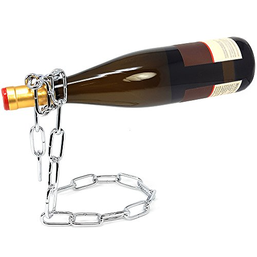 """COM-FOUR® Soporte de botella decorativo Soporte de vino Soporte de botella de vino""""La botella flotante"""" (01 pieza - cadena color plata)"""