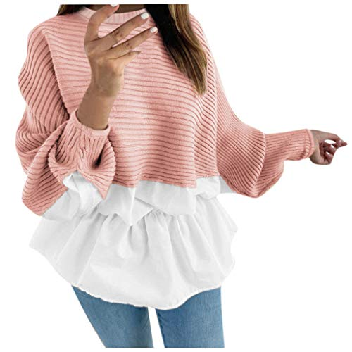 For Sale! YAnGSale Top Women Sweater Fashion Frill Ruffle Blouse Loose Long Sleeve Pullover (Pink, X...