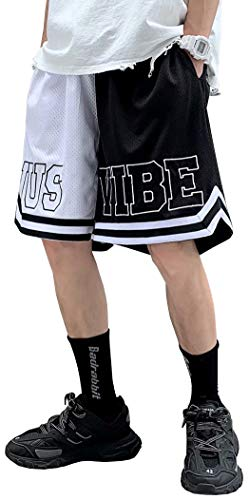 D.IIZOO 夏 メッシュ バスケットボールパンツ メンズレディーズ バスケパンツ スポーツ ショートパンツ プラクティスパンツ ペアウェア カップル バギーショーツ バスパン 部活 練習 ジュニア 通気 軽量 (黒の白, L)