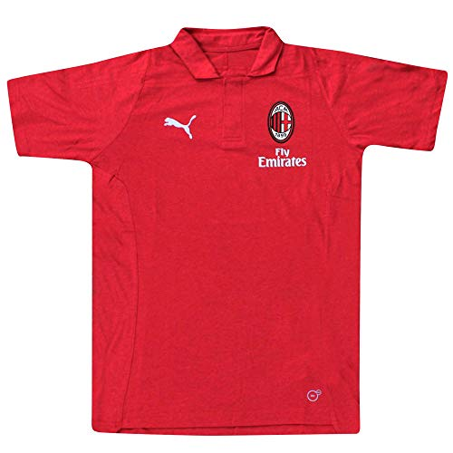 Polo oficial del equipo de fútbol del AC Milan (Serie A) (tallas de adulto S a XL), Hombre, AC MILAN T-SHIRT02 RED BLK FBA, rojo & negro, small