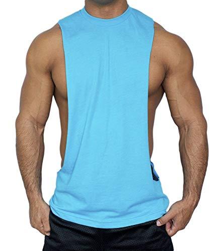 American Apparel Muscle Cut Stringer Workout T-Shirt Tank Bodybuilder (Large, Neon Blue)