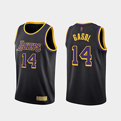HS-XP 2021 Men's Basketball NBA Los Angeles Lakers # 14 Marc Gasol Jersey, Transpirable Y Seco Seco Deportes De Baloncesto Cuello Redondo Campo DE Campo,Negro,S(165~170cm)