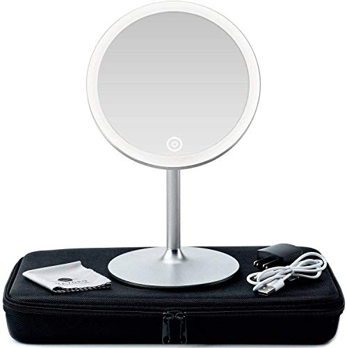 3D Lighted Makeup Mirror with Magnification 5X - 360 Degree Swivel LED Make Up Mirror with Continuous Ring Light for Illumination. Collapsible Vanity Mirror with Lights, Travel Make Up Mirrors