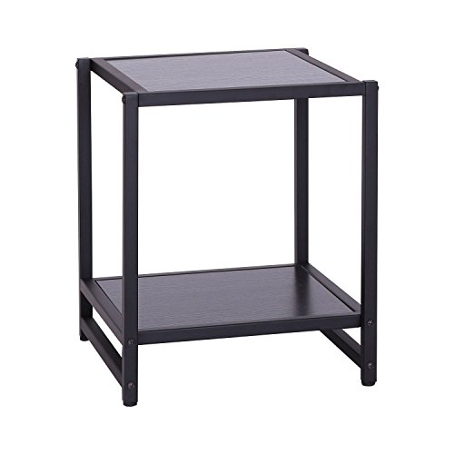 HOMCOM Mesa Auxiliar para Salón con 2 estantes de Madera 38x38x45,7cm Color Negro Estructura Metal…