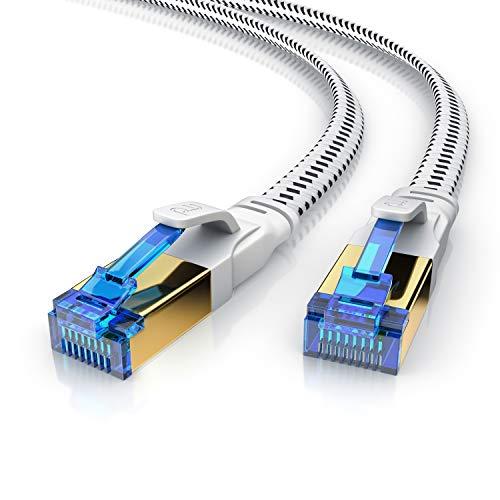 Primewire – 15m Cable de Red Cat 8 Plano - 40 Gbits - Cable Gigabit Ethernet LAN 40000 Mbits con Conector RJ 45 - Revestido de Tela - Blindaje U FTP Pimf - Compatible Switch Rúter Modem PC Smart-TV
