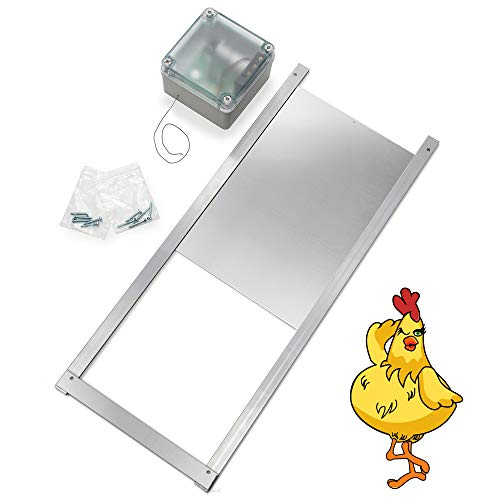 Automatic Chicken Coop Door Opener Kit - Light Sensor, NO Timer, Battery Operated - Electric Auto Chicken Guard Door for Coops, Cages, Runs - Sturdy Poultry Safety Supplies Kit