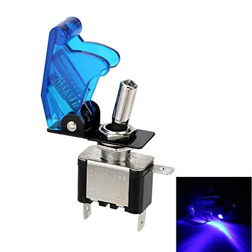 CuiGuoPing Interruptor basculante para coche con cubierta de luz y protección, SPST, control on/off, CC 12 V, 20 A (azul)