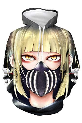 Generic Himiko Toga Anime Cosplay - Sudadera con capucha con impresión 3D, manga larga, con bolsillo, talla S