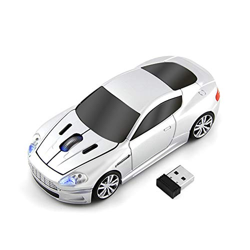 Cool Sports Car Optical Mouse 2.4G Optical Ergonomic Gaming Cordless Mice USB Mouse Car Light Design with 3 Buttons Range 10 Meter,for Office Home Laptop Computer,Silver