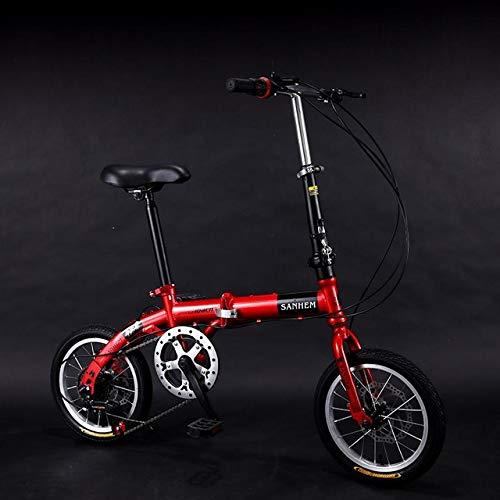 Mdsfe Bicicleta Plegable Ultraligera de 14 Pulgadas Bicicleta Plegable para niños con Doble Freno y Velocidad Variable para niños - C Cambiar Velocidad Discb