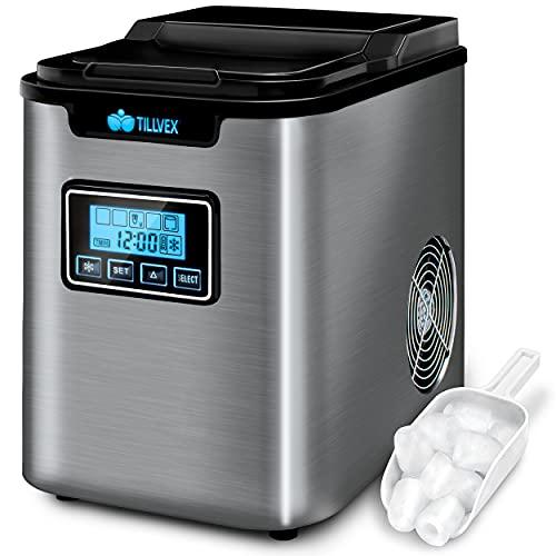 tillvex Eiswürfelmaschine Edelstahl 12 kg - 24 h | Eiswürfelbereiter mit Timer und 2,2 Liter Wassertank | Ice-Maker LCD-Display & Selbstreinigungsfunktion | 3 Eiswürfel Größen (Silber)