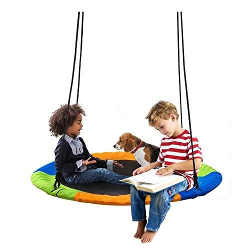 None branded Nestschaukel für Kinder & Erwachsene 100 cm Durchmesse - 300 kg Belastbarkeit   Verstellbar Garten Netzschaukel für Jungen und Mädchen ab 3 Jahren