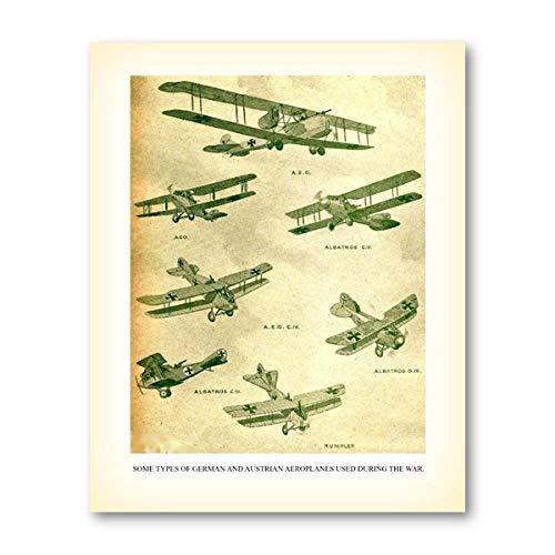 kecoco Vintage Flugzeug Sammlung Leinwand Poster deutsche und österreichische Flugzeuge drucken antike Wandkunst Bild dekorative Malerei-40x50cm