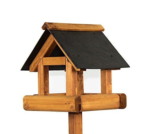 Photo of Riverside Woodcraft Sherringham Slate Roof Bird Table With Anti Bacteria Coating