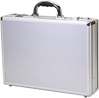 "T.Z. Case Aluminum 18"" Laptop Briefcase, Padded Handle Attache Case in Silver"