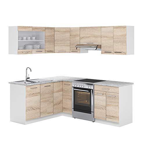 Cucina Vicco Cucina componibile a L Blocco cucina angolare Cucina angolare 210 cm Sonoma Rovere