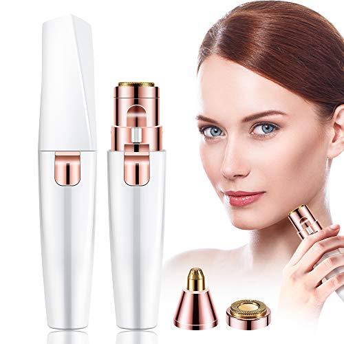 Augenbrauen Trimmer Elektrischer, Augenbrauen Rasier Gesicht Haarentferner für Damen die Lippen Augenbrauen Epilierer Wiederaufladbarer & Licht mit USB Ladekabel und Bürste