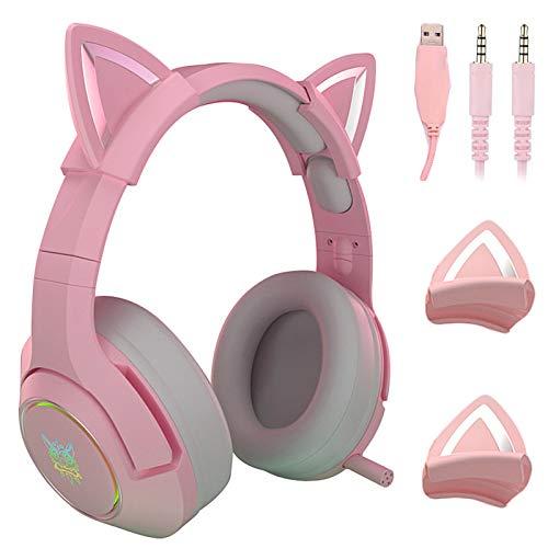 Yilin Gaming-Headset Pink, Niedliches Katzenohr-Headset Mit Mikrofon, Rauschunterdrückungs-Headset Mit Licht, 3,5-mm-stecker, Geeignet Für Laptop/Ipad/Smartphone