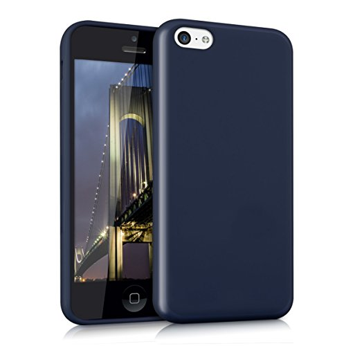 kwmobile TPU Silicone Case Compatible with Apple iPhone 5C - Soft Flexible Protective Phone Cover - Dark Blue Matte