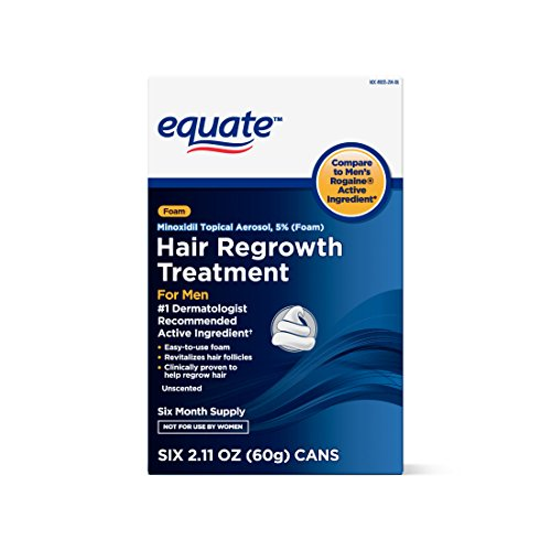 Equate Hair Regrowth Treatment, 6 Cans, Six Month Supply, Foam, For Men