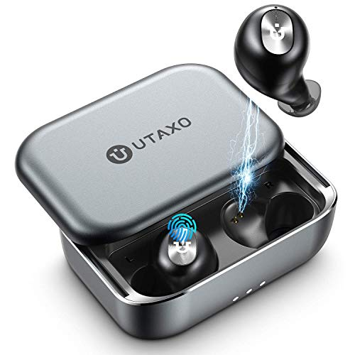Utaxo Bluetooth Earbuds 5.0 in-Ear Stereo Headphones with 2200mAh Slide Aluminum Charging Case,Bluetooth Earbuds IPX7 Waterproof,Free to Switch Single/Twin Mode with 100Hours Playtime Utaxo (Renewed)