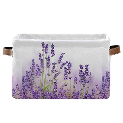 KEEPREAL Lavender Flowers Storage Basket Bin, Large Cube Storage Box Canvas Collapsible Storage Organizer for Home Office Closet - 15 L x 11 W x 9.5 H
