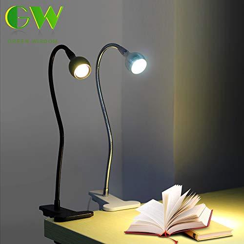 ZXC Home LED-bureaulamp boekenlicht USB Powered Clip-houder Flexibele leeslampen op bed voor studentenkamer slaapkamer speelkamer USB-tafellamp (body kleur: zilver, kleur: warm wit)