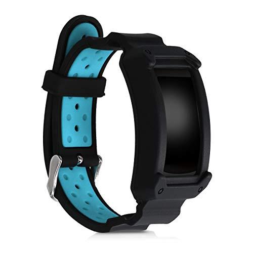 kwmobile Armband kompatibel mit Samsung Gear Fit2 / Gear Fit 2 Pro - mit Bumper Hülle - Silikon Sportarmband