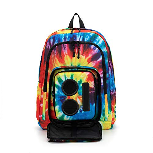Bluetooth Speaker Backpack with 20-Watt Speakers & Subwoofer for Parties/Festivals/Beach/School. Rechargeable, Works with iPhone & Android (Tie Dye, 2021 Edition)