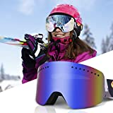 JTENG Gafas de esquí antivaho, protección UV, Gafas de Snowboard para la Nieve, Snowboard, Snowboard, monopatín, Gafas de Nieve para Hombres, Mujeres y jóvenes (Azul)
