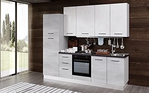 Cucina completa 255 cm mobili base comprensiva di elettrodomestici 255 x 60 x 216 cm cemento e calce - Elba (Colonna frigo sinistra)