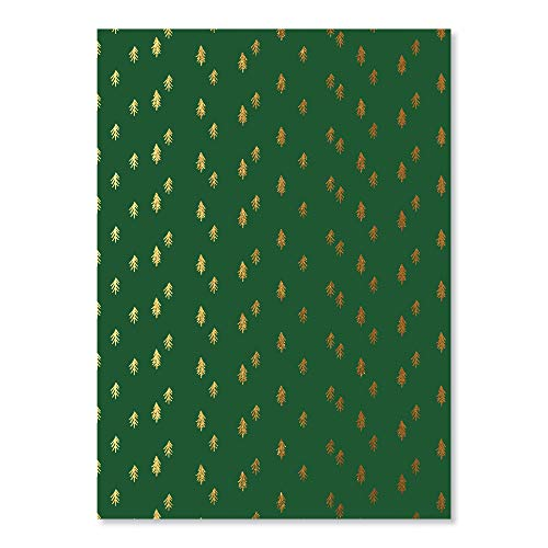 C.R. Gibson Green and Gold Pine Tree Christmas Wrapping Paper, 20'' W x 28'' L, 3 Sheets, 20' x 28', Green & Gold