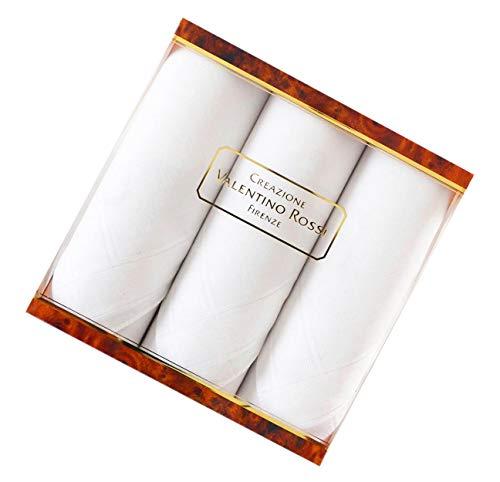 coolkaufen Geschenkpackung mit drei hochwertigen, weißen Herrentaschentücher