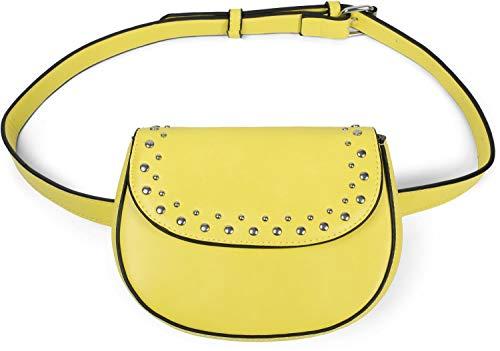 styleBREAKER Damen Multi Umhängetasche und Bauchtasche mit Nieten und Reißverschluss, Schultertasche, Gürteltasche 02012284, Farbe:Gelb