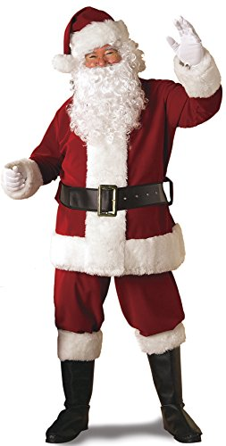 Rubie's Men's Plus Size Regal Santa Suit with Gloves, Crimson Red, Extra Large