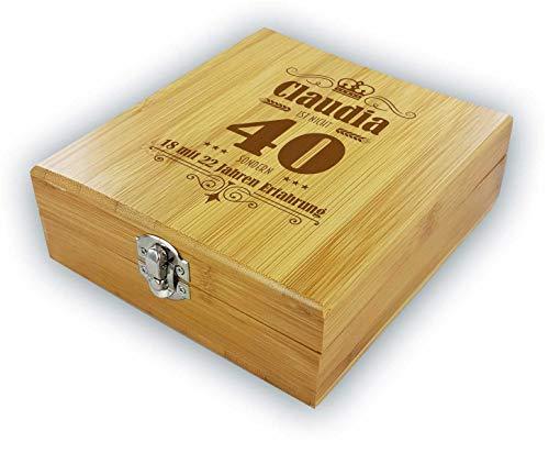 die stadtmeister Persönliche Geschenkbox mit Weinzubehör zum 40. Geburtstag mit Wunschnamen