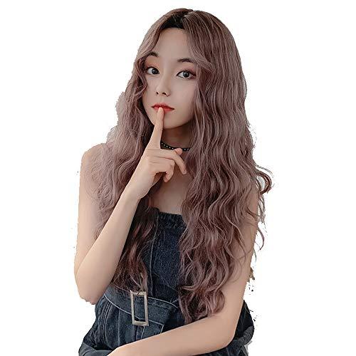 Nologo Perruque Cheveux Longs Rose Brun Lace Front Perruques Synthétiques Lace Front Perruques Curly Ondulés Résistant À La Chaleur Fibre Perruque Mi Partition ZHQHYQHHX