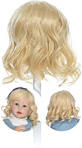 "Reborn Wigs for Reborn Toddler Dolls Curly Short Blond Golden Hair Reborn Doll Wig Realistic Soft Wig Hair Suit for Head Circumference 48cm 19 inch 24""-28"" Toddlers Doll (Short Curly Golden)"